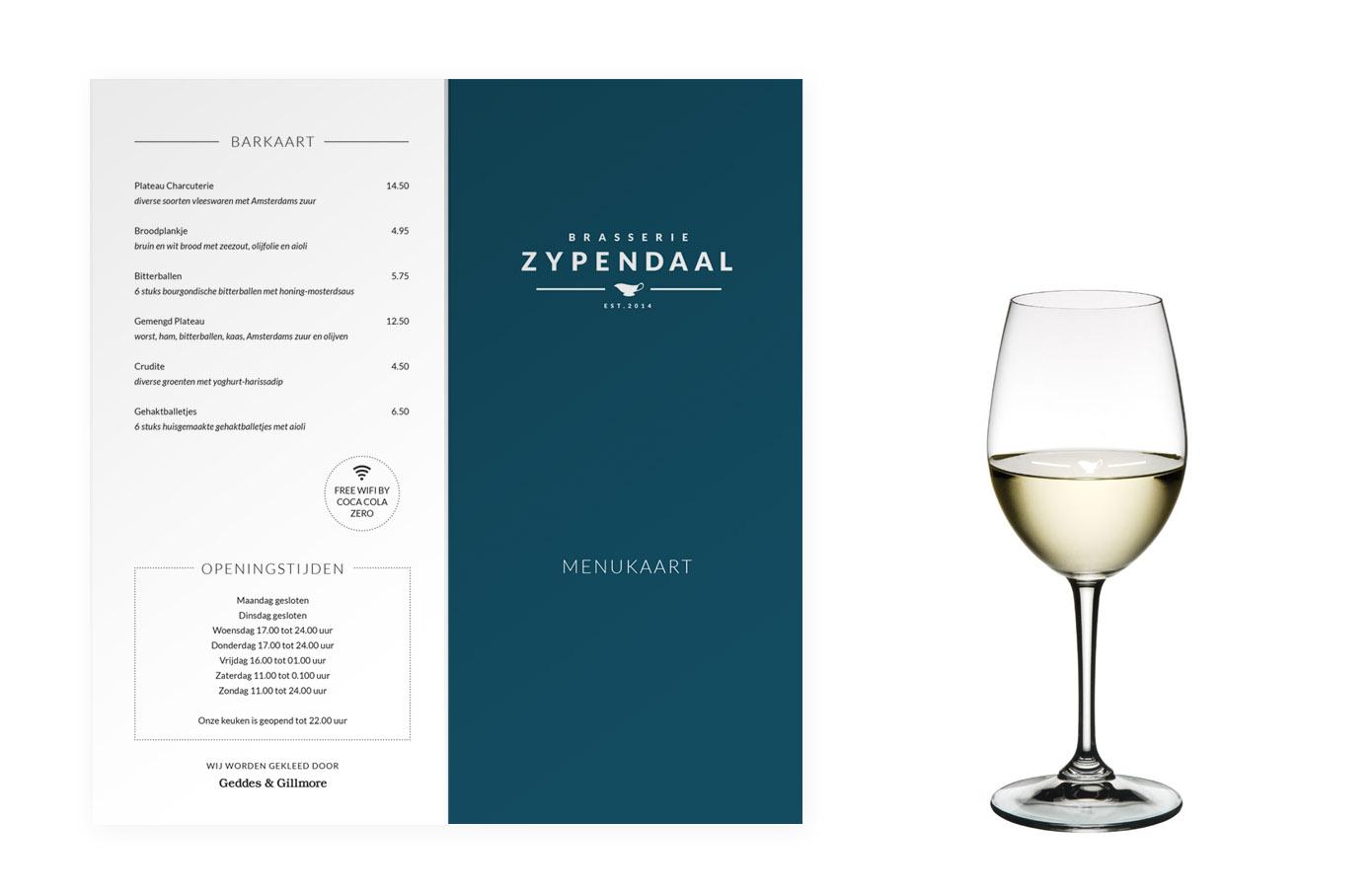 Kaart Brasserie Zypendaal